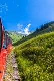 Visita turística de excursión por el tren del vapor en las montañas suizas Fotos de archivo libres de regalías
