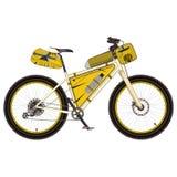 Visitando a bicicleta com ilustração lisa bikepacking do vetor da engrenagem Imagem de Stock