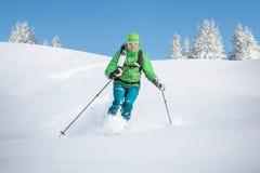 Visitando o esquiador nos cumes Fotografia de Stock Royalty Free
