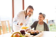 Visitante da saúde e uma mulher superior durante a visita home fotografia de stock royalty free