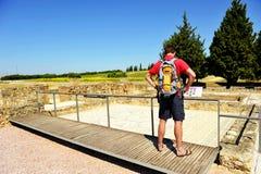 Visitante de la casa del planetario, ciudad romana de Italica, Andalucía, España Imágenes de archivo libres de regalías