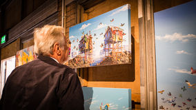 Visitante de la exposición Imagen de archivo libre de regalías