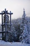 Visitantes brancos de Ski Area Lodge Sign Greets da passagem na estrada 12 imagem de stock
