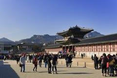 Visitantes do palácio de Gyeongbokgung Foto de Stock