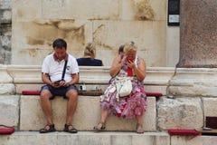 Visitantes em linha na Croácia Fotografia de Stock