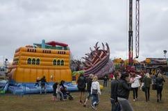 Visitantes em uma feira de condado, Suécia Fotografia de Stock