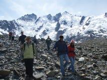 Visitantes en el glaciar de Laughton Foto de archivo