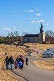 Visitantes en Hornborgasjon Fotos de archivo libres de regalías