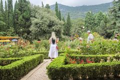 Visitantes en la rosaleda Fotos de archivo