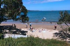 Visitantes en la tierra del norte Nueva Zelanda de la playa de los toneleros Imagen de archivo libre de regalías