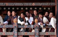 Visitantes en Trongsa Dzong Foto de archivo libre de regalías