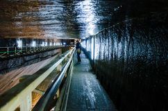 Visitantes na mina de sal Turda, Cluj, Romênia Fotos de Stock