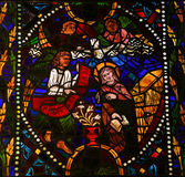 The Visitation - Stained Glass in Leon Cathedral Stock Image