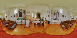 Visitation van Onze Dame Catholic Church Interior in Székelykà ¡ l (CăluÈ™eri), Roemenië Royalty-vrije Stock Afbeelding