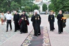 Visite à l'église Sviatoslav Shevchuk de chapitre de Chortkiv Photographie stock