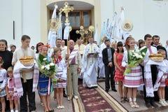Visite au _2 de Sviatoslav Shevchuk d'église de chapitre de Chortkiv Photographie stock libre de droits