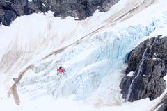 Visite d'hélicoptère au glacier Photographie stock