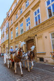 Visite de chariot de cheval de Cracovie (Cracovie) - Pologne Image libre de droits