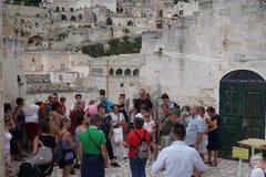 Visite de la ville antique de Matera, l'Italie photos libres de droits