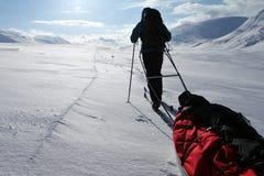 Visite de ski sur le Kungsleden Image libre de droits
