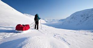 Visite de ski sur le Kungsleden Photos libres de droits