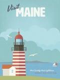 Visite el cartel del vintage de Maine con el faro del oeste de la cabeza de Quoddy Fotos de archivo