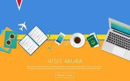 Visite el concepto de Aruba para su bandera del web o imprima Foto de archivo libre de regalías