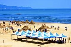 Visite a escultura da areia na praia Foto de Stock