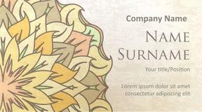 Visite o projeto de cartão no fundo colorido antiquado com delicado ilustração do vetor