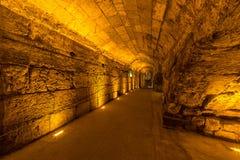 Visite occidentale de tunnels de mur de Jérusalem Hanoucca photo stock