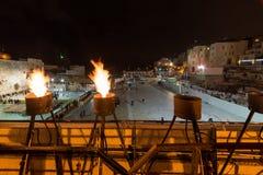 Visite occidentale de tunnels de mur de Jérusalem Hanoucca photos libres de droits