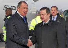 Visite officielle du ministre des affaires étrangères russe Sergey Lavrov vers la Serbie Photos libres de droits
