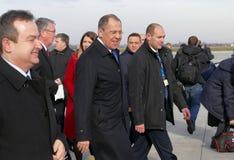 Visite officielle du ministre des affaires étrangères russe Sergey Lavrov vers la Serbie Photographie stock