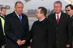 Visite officielle du ministre des affaires étrangères russe Sergey Lavrov vers la Serbie Image libre de droits