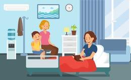 Visite patiente dans l'hôpital Ward Flat Illustration illustration libre de droits