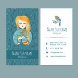 Visitekaartje businesscard malplaatje met leuk hand getrokken patroon Stock Foto