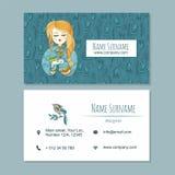 Visitekaartje businesscard malplaatje met leuk hand getrokken patroon Royalty-vrije Stock Fotografie
