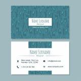 Visitekaartje businesscard malplaatje met leuk hand getrokken patroon Royalty-vrije Stock Foto's