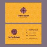 Visitekaartje en adreskaartje met het element dat van het mandalaontwerp wordt geplaatst Royalty-vrije Stock Afbeeldingen