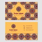 Visitekaartje en adreskaartje met het element dat van het mandalaontwerp wordt geplaatst Royalty-vrije Stock Foto
