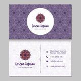 Visitekaartje en adreskaartje met het element dat van het mandalaontwerp wordt geplaatst Royalty-vrije Stock Afbeelding