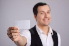 Visitekaartje ter beschikking met glimlach Stock Afbeelding