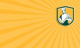 Visitenkarte-Chef-Koch Rolling Pin Shield Retro Stockfoto