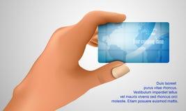 Visitenkarte in der Hand Lizenzfreie Stockfotografie