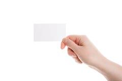 Visitenkarte in der weiblichen Hand Stockfotos