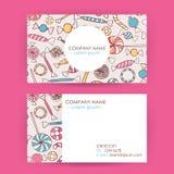 Visitenkarte-Hand gezeichneter Süßigkeits-Bonbon-Hintergrund Stockbilder
