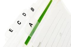 Visitenkarte-Index Lizenzfreie Stockfotografie