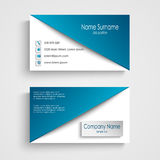 Visitenkarte mit blauer weißer Hintergrundschablone Stockfotos