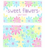 Visitenkarte mit Blumen Lizenzfreie Stockbilder