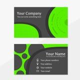 Visitenkarte mit den grünen und dunkelgrauen Farben stockfotos
